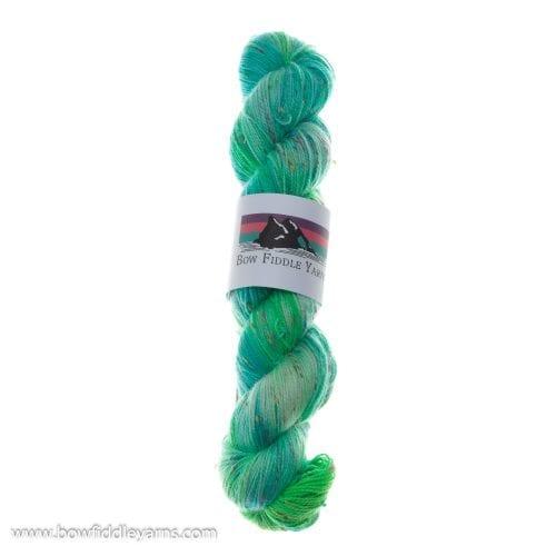 Bow Fiddle Yarns Superwash Merino & coloured nep- 40 sheets of green - 4ply yarn