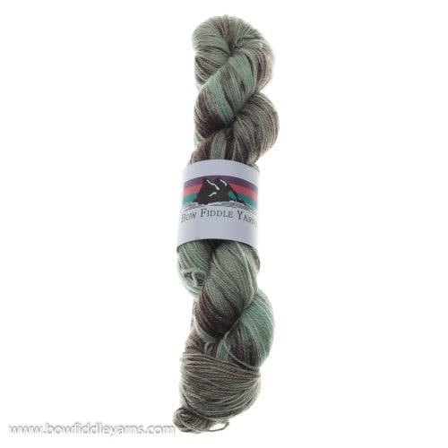 Bow Fiddle Yarns Merino, Nylon and Bronze Stellina - Mint Choc Chip - 4ply yarn